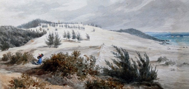 Elbow Beach painting of historic dune activity